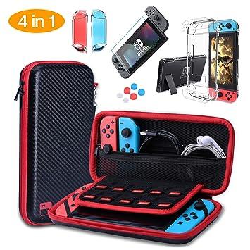 HEYSTOP Nintendo Switch Accesorio, Funda para Nintendo Switch + Carcasa Switch + Protector de Pantalla para Switch + Apretones de Pulgar + Protector ...