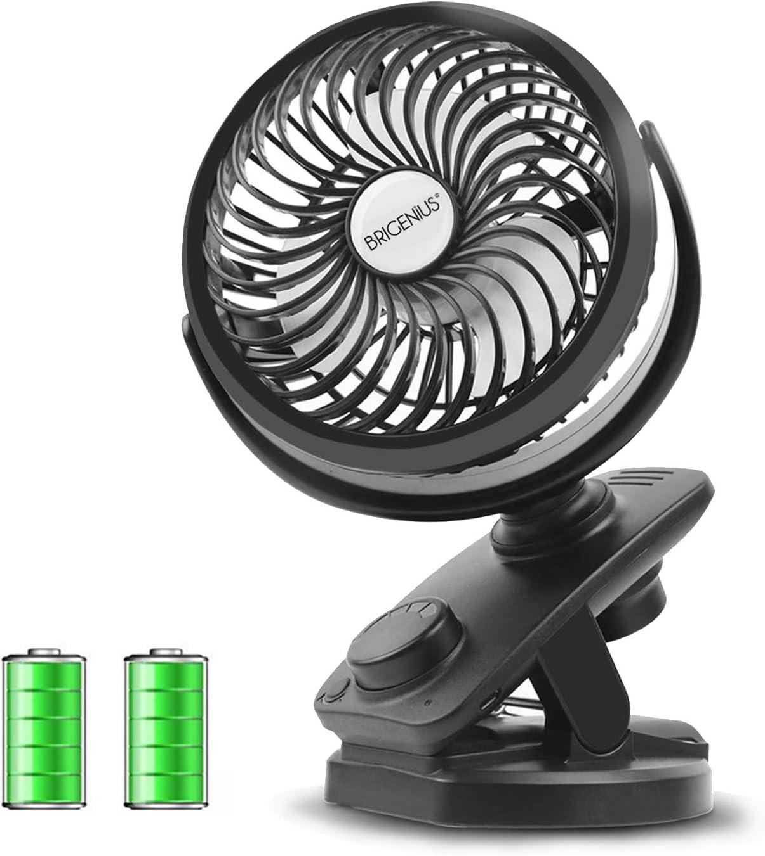 Mini Ventilador USB Silencioso Recargable Batería Ventilador Portátil Velocidad Ajustable 360° Ventilador Pinza Pequeño para Mesa, Cochecito de bebé, Cama, Camping, Coche, Oficina, Casa y Aire Libre