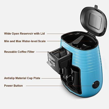 Aicook Cafetera de Goteo, Mini Cafetera Portátil con Diseño Compacto, Cafetera de Filtro con Tecnologia de Preparación Rápida, Equipado con 2 Tazas de Cerámica, Azul