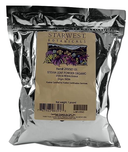 Stevia Leaf Powder Organic Starwest Botanicals 1 lb