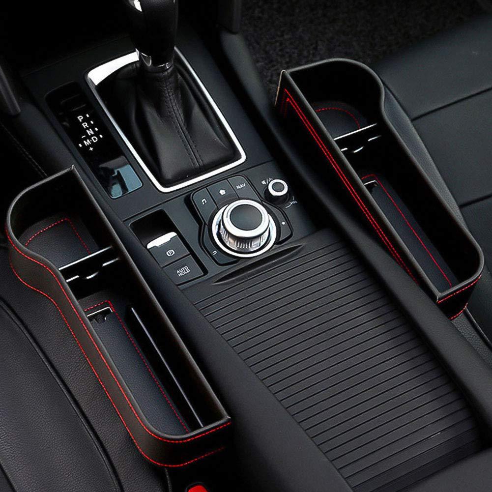 2 Packs Multifunctional Leather Car Seat Gap Filler Seat Console Organizer Pocket with Dual USB Charging WonVon Car Seat Gap Organizer