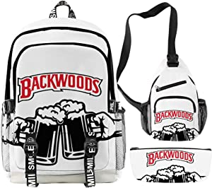 3pcs Backwoods Backpack for Boys Men Backwood Bag Beer Print Laptop Shoulder School Bag Travel Bag (6,One_Size)