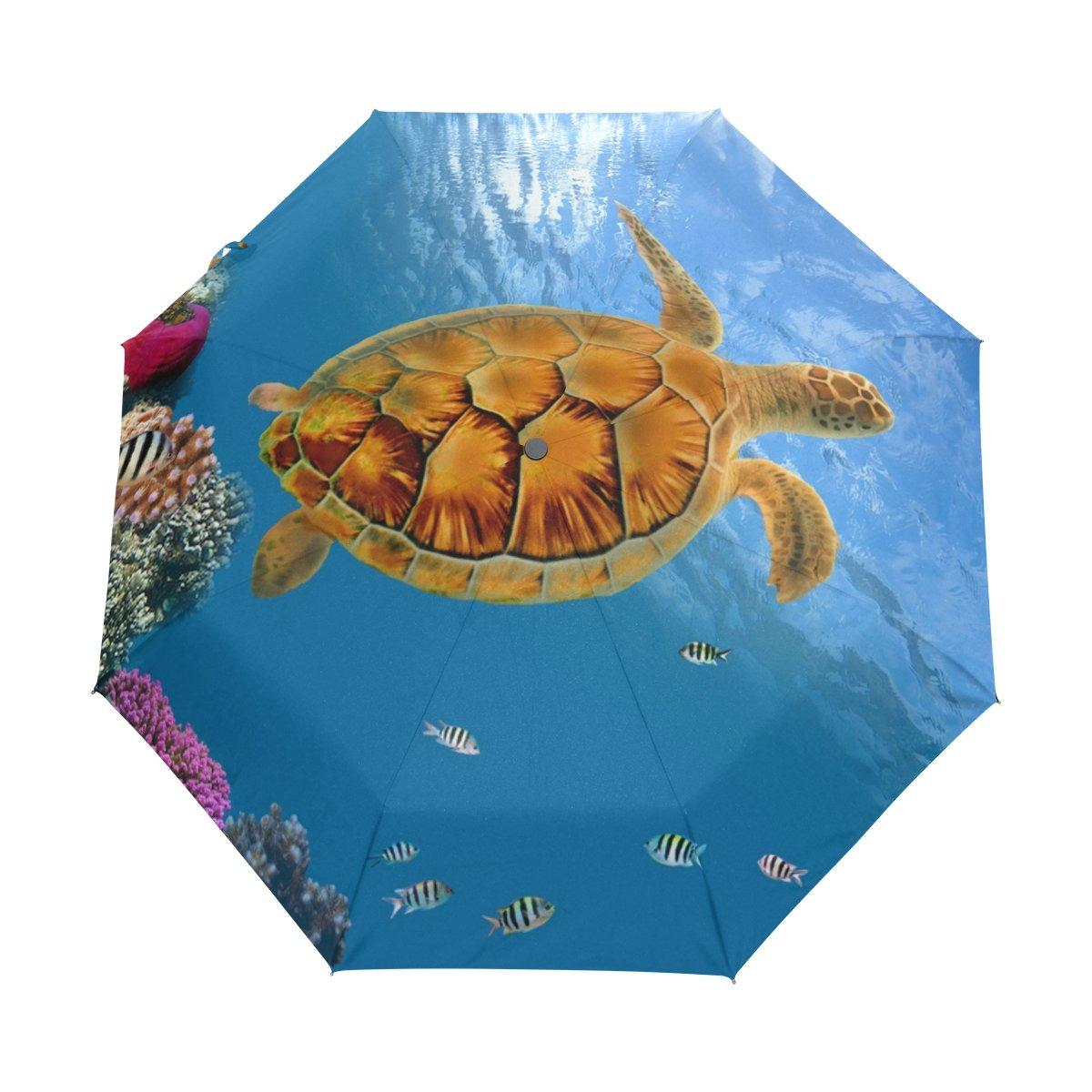 deyyaカラフルCoral Reef Sea Turtle魚防風旅行傘自動的に開く閉じる軽量コンパクトゴルフ傘 B075GX4YC1