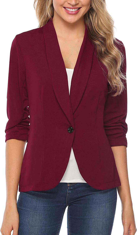 iClosam Women Blazer Jacket 3/4 Ruched Sleeve Open Front Lightweight Work Office Cardigan