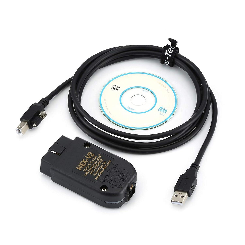 Can Commander 1.4 OBD2 Diagnostic Scanner Tool con Software CD per VAG Scanner VAG K Katherinabait VAG 19.6 Can Interfaccia USB Cavo Auto Connettore diagnostico Wireless Professionale English