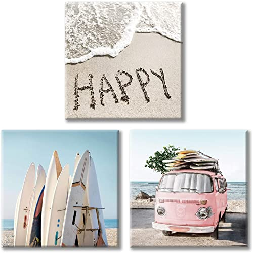 Costal Canvas Wall Art Pictures Surfboards Pink Car on Sand Artwork Canvas Painting for Living Room 12 x 12 x 3 Panels
