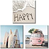 "Costal Canvas Wall Art Pictures: Surfboards & Pink Car on Sand Artwork Canvas Painting for Living Room (12"" x 12'' x 3…"