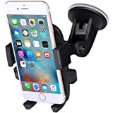 TKONG Car Mount Phone Holder Suction on Windshield 360 Degrees Rotation Freely Adjustable for iPhone X/8/7/6 Plus Samsung Galaxy S8/S7 and More Cellphone(Black)