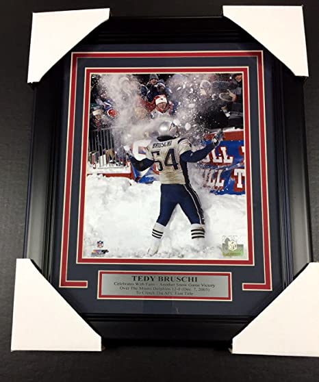 e10a3f98c Image Unavailable. Image not available for. Color  Tedy Bruschi Snow Game NEW  ENGLAND PATRIOTS 8x10 PHOTO FRAMED With Nameplate