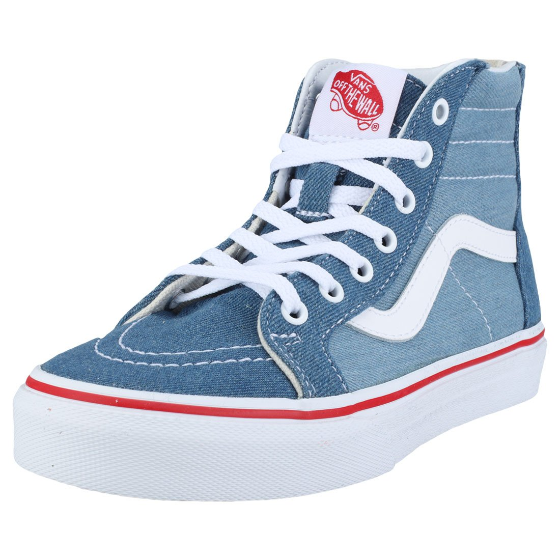 Vans Kids K SK8-HI Zip Denim 2 Tone Blue True White Size 1