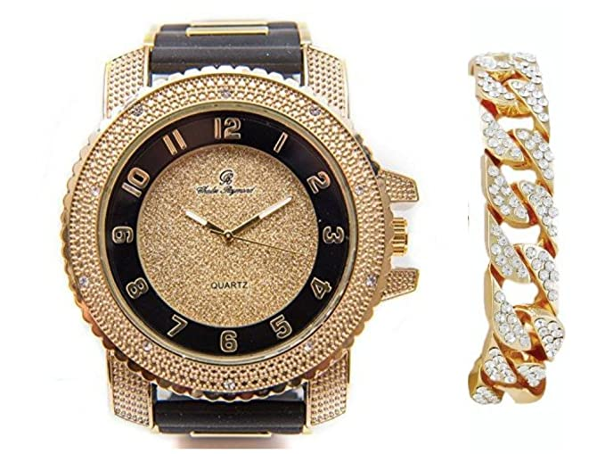 Amazon.com: Bling-ed Out Charles Raymond Black Rubber Hip Hop Bullet Gold Tone Watch w/Blingd Out Gold Cuban Bracelet - 7758RB Cuban: Charles Raymond: ...