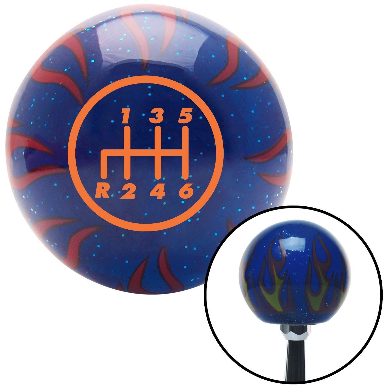 Orange 6 Speed Shift Pattern - 6RDL American Shifter 243861 Blue Flame Metal Flake Shift Knob with M16 x 1.5 Insert