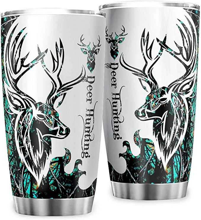 Amazon Com Stainless Steel Tumbler 20oz Deer Hunting Camo Double Wall Vacuum Insulated Drinking Travel Mugs With Lid For School Gift For Men Women Kids White 20oz Tumblers Water Glasses