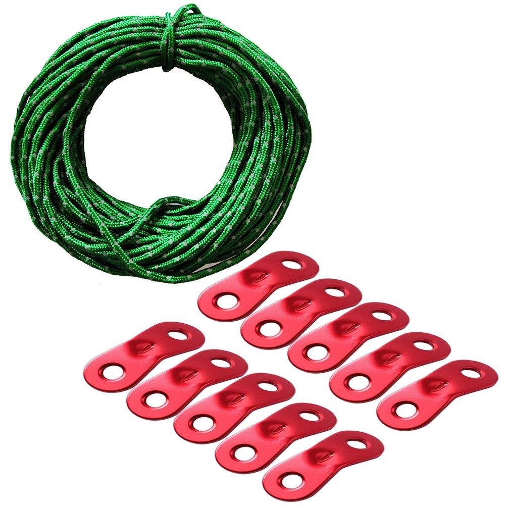 Pasway Cuerda De Tienda De Campañ a, 50FT Reflexivo Cable de Retenció n Paracord con 10pcs Tensores de Aluminio para la Carpa 50FT Reflexivo Cable de Retención Paracord con 10pcs Tensores de Aluminio para la Carpa Pasway House