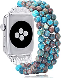 KAI Top Compatible for Apple Watch Band 42mm 44mm, Natural Stone Beaded Band for Women Girls, Elastic Stretch Replacement Band for iWatch Series SE & Series 6 5 4 3 2 1