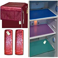 LOOMANTHA miles to go…. Kitchen Combo Pack of 1Pc Top Cover, 2Pc Handle Cover & 3Pc Fridge/Refrigerator Drawer Mat