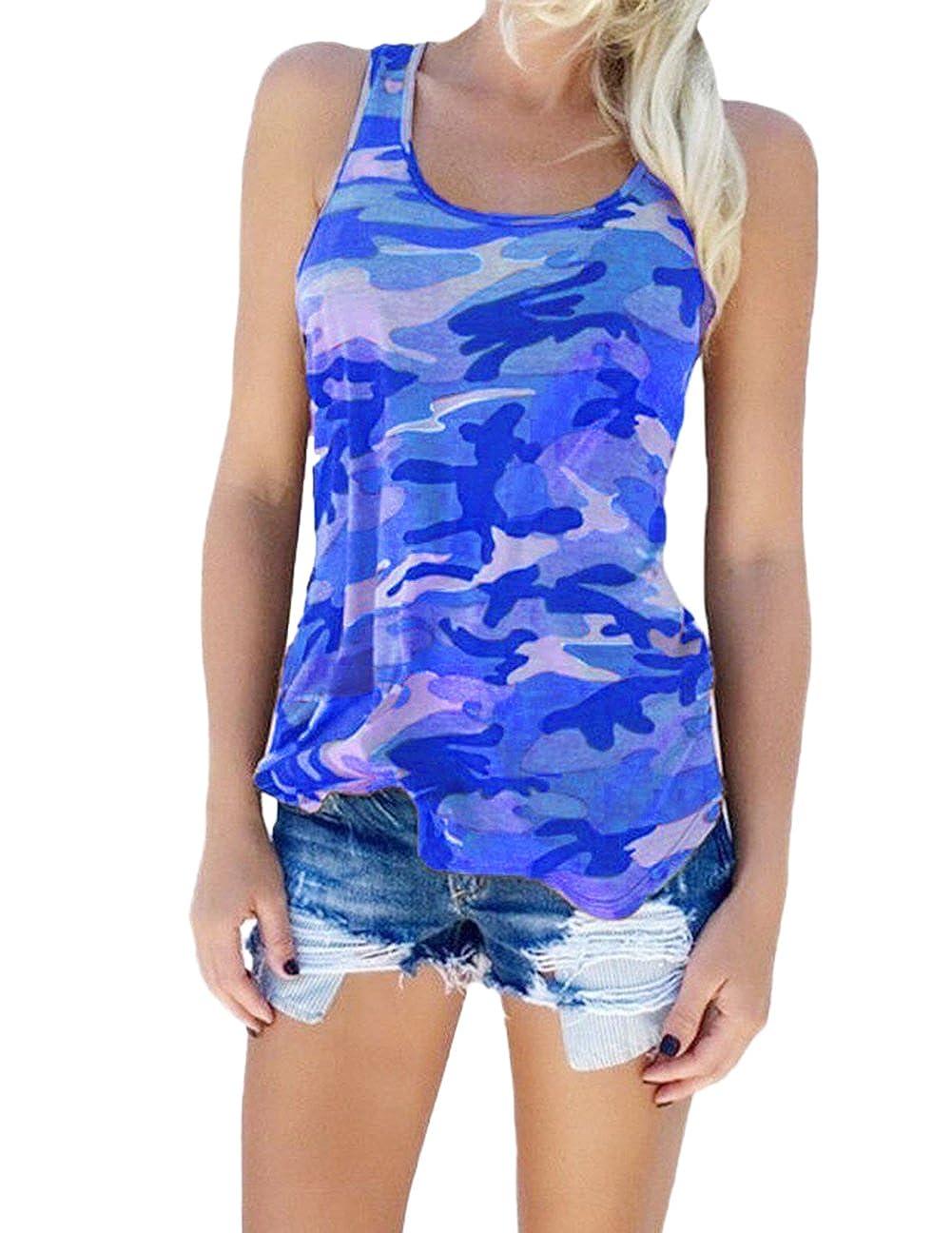 XARAZA Women's Sleeveless Camouflage Print T-Shirt Racerback Crewneck Blouse Tops