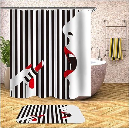 Aienid Cortinas Baño Antimoho Plastico Lápiz Labial Mujer Vistoso Cortina De Ducha Estanca Size:180X180CM: Amazon.es: Hogar
