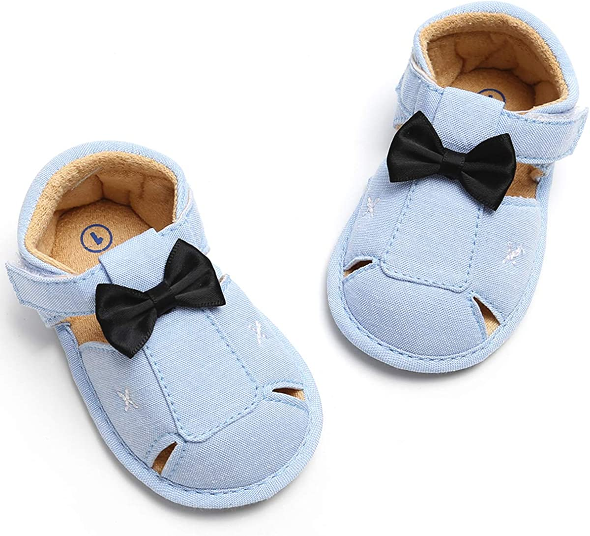 BubbleColor Baby Girls Boys Summer Sandals Closed-Toe Infant Toddler Prewalker Bow Tie Little Gentleman Anti-Slip Walking Crib Shoes Moccasins
