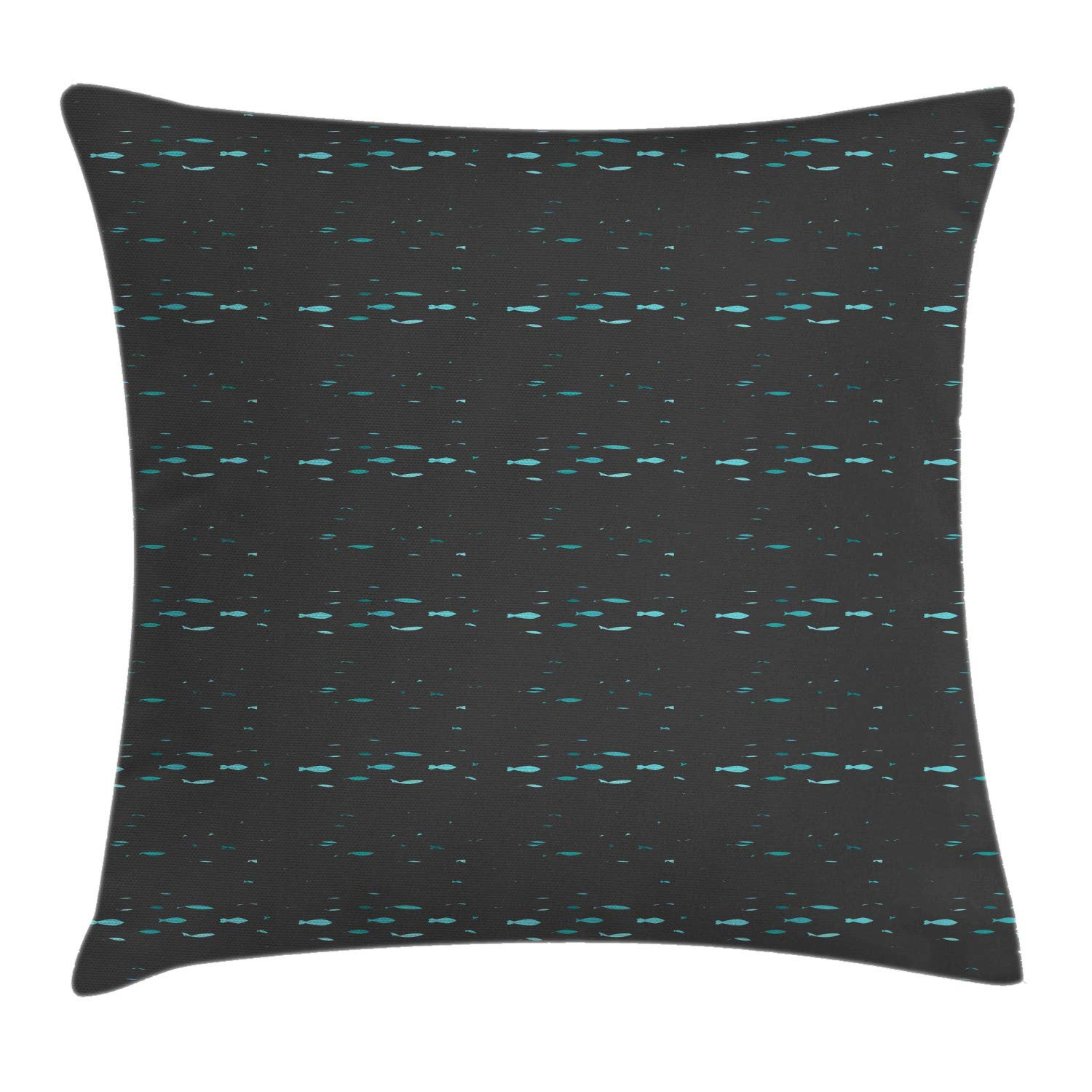 Lunarable Fish Throw Pillow Cushion Cover, Nautical Theme Nursery Underwater Creature Shoal of Fish Pattern, Decorative Square Accent Pillow Case, 24'' X 24'', Dark Grey Dark Seafoam Seafoam by Lunarable
