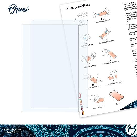 2X glasklare Displayschutzfolie Bruni Schutzfolie kompatibel mit Akaso V50 Elite Folie