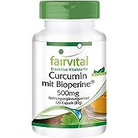 curcumine avec Bioperin 500 mg, 120 gélules pour 2 mois - Curcuma extrait avec 95% de curcuminoïdes