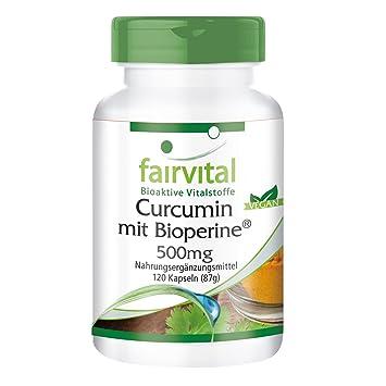 La curcumina con Bioperin 500 mg, 120 cápsulas para 2 meses - VEGAN - Curcuma extraer con 95% de curcuminoides: Amazon.es: Salud y cuidado personal