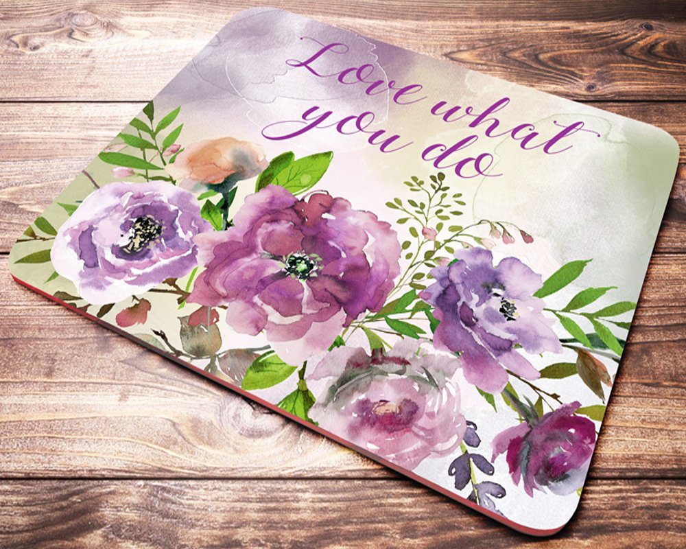 Love What You Do Inspirational Quote Floral Mouse Pad Purple Watercolor Flowers Desk Accessories Womens Mousepad Office Gift by Black Fly Co (Image #1)