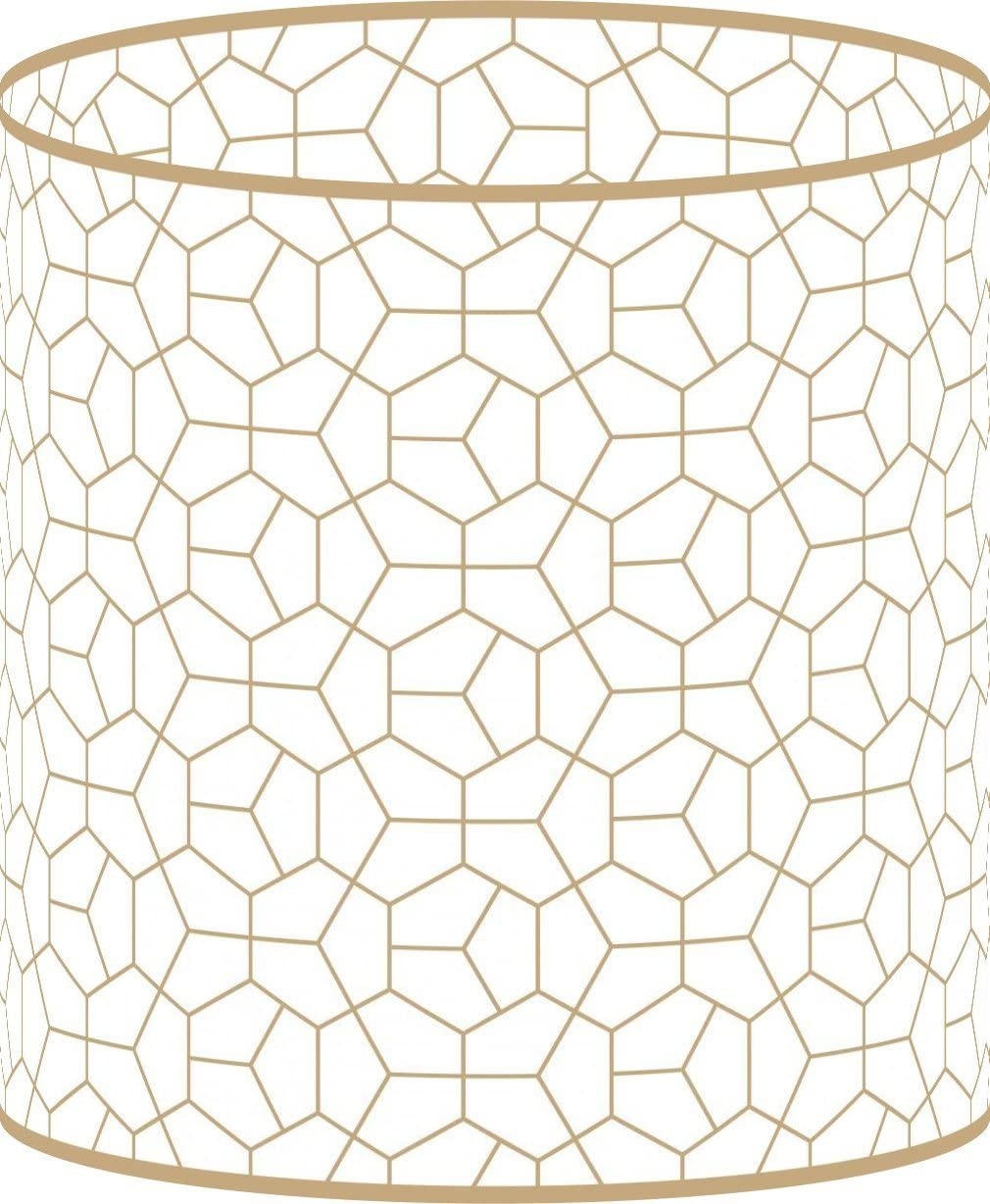 LampPix 10 Inch Table Lamp Shade – Modeco Hex Gold Canvas Desk Lampshade Spider Fitting