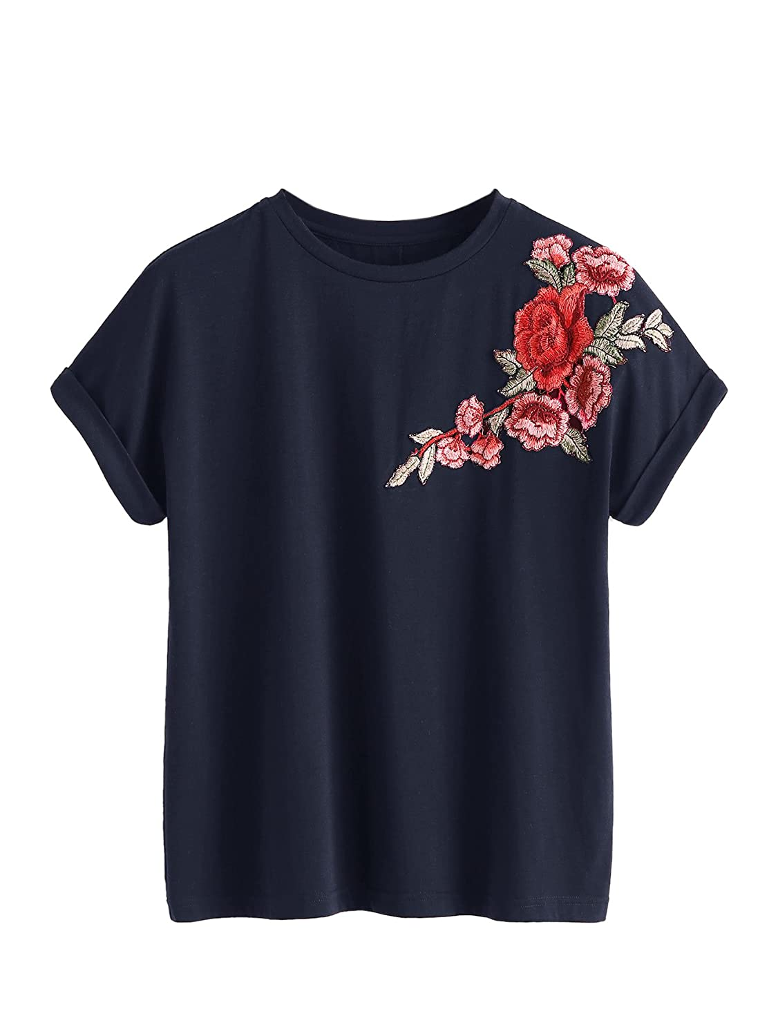 6b1efd5cb Amazon.com: Romwe Women's Floral Embroidery Cuffed Short Sleeve Casual Tees  T-Shirt Tops: Clothing