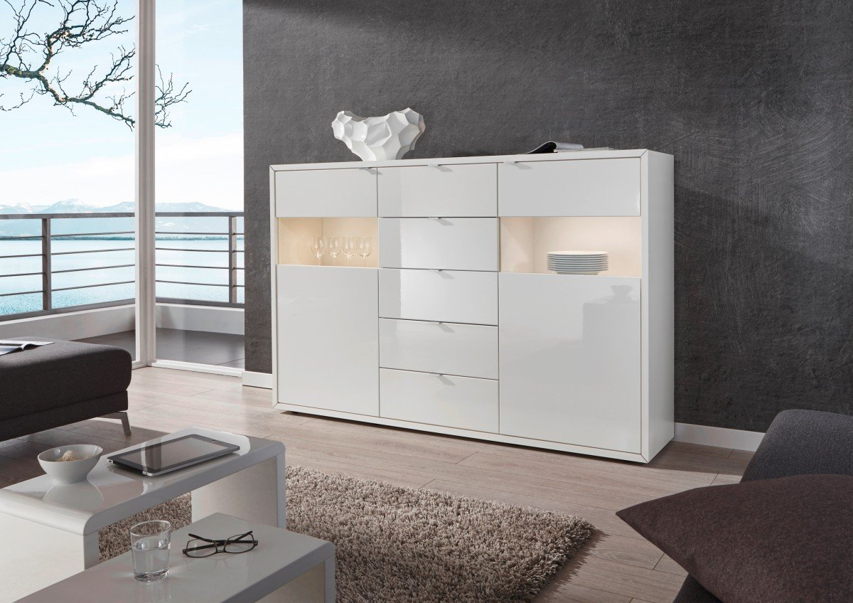 Dreams4home Highboard Soundroom Sideboard Glasvitrine