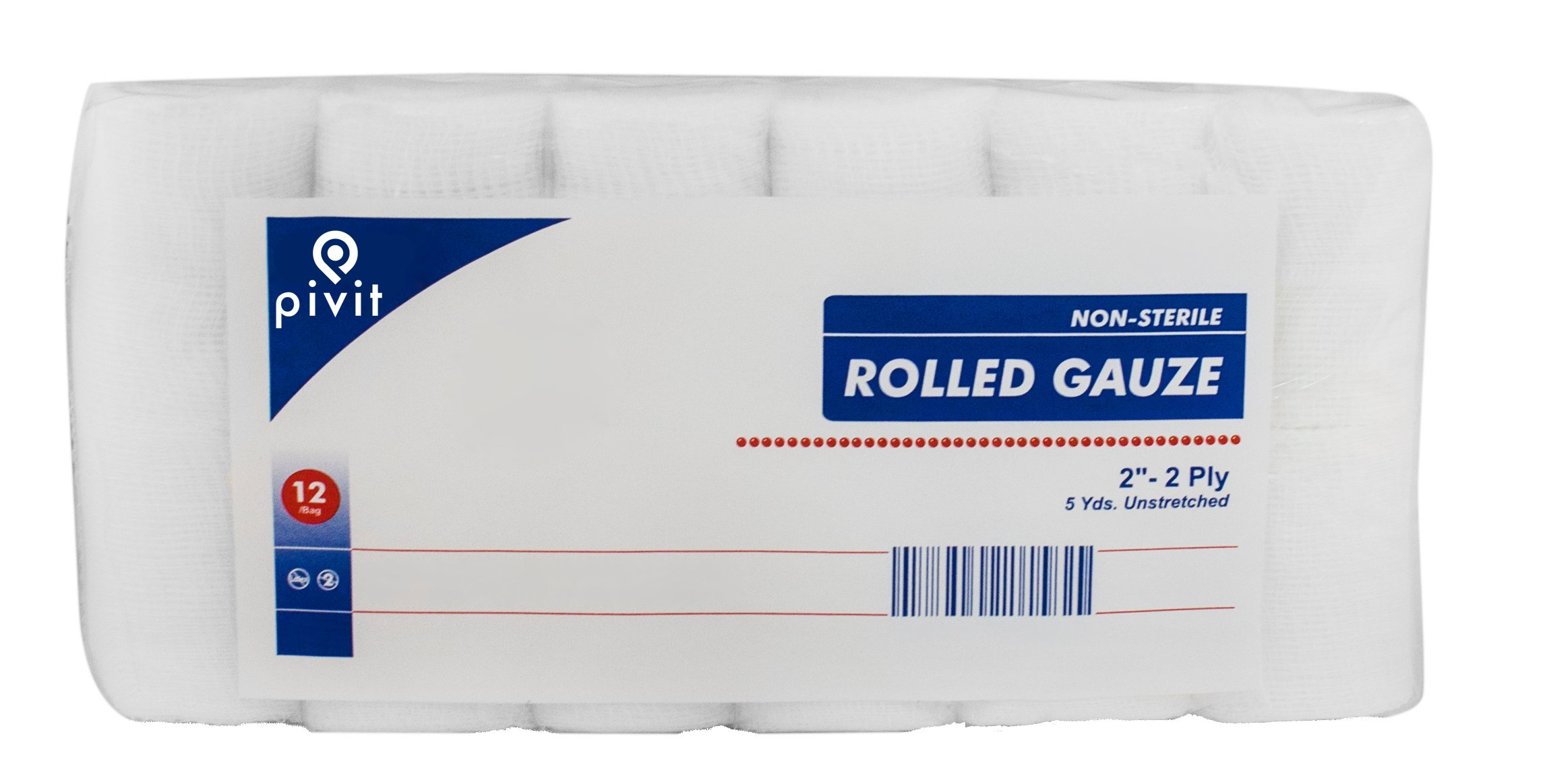 Pivit Non-Sterile Gauze Wrap Rolls | 2'' x 5 YDS 2-Ply | Pack of 12 | 100% Woven Cotton Bandages Just Stretch Wrap Cut | Fast-Wicking Absorbent and Breathable | Easily Conforms to Hands Ankles & Knees