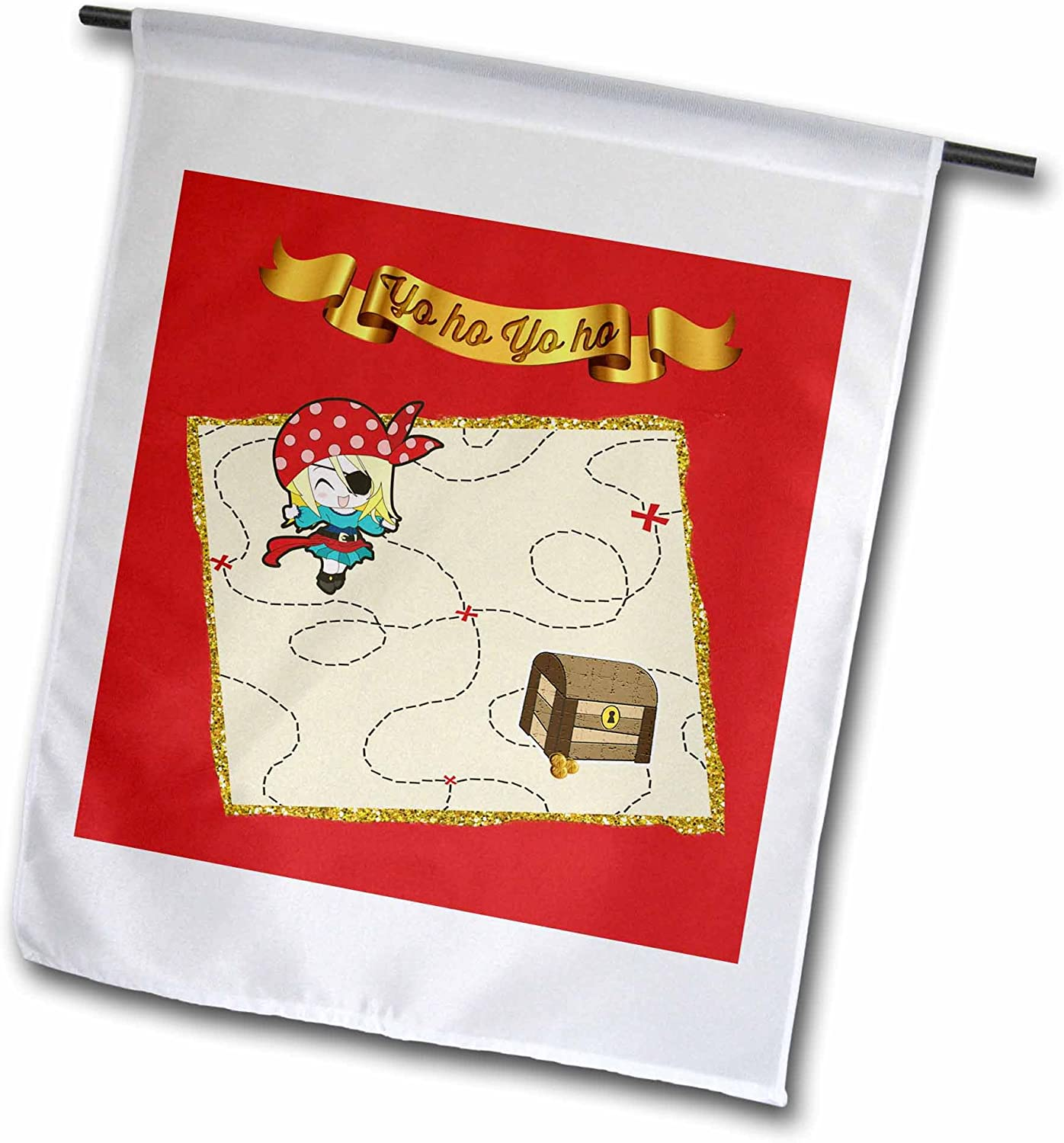 3dRose Beverly Turner Pirate Design - Yo Ho Gold Banner, Girl Pirate with Sword and Treasure Chest on Map - 12 x 18 inch Garden Flag (fl_212216_1)