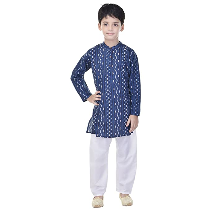 ed748e1a15 Amazon.com: Soundarya Cotton Blue Printed Kurta and Pyjama Set For Boys:  Clothing
