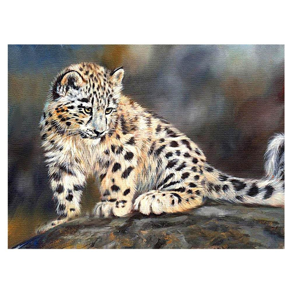 Mikolot Snow Leopard 5D DIY Round Diamond Painting Rhinestone Embroidery Painting Artcraft for Home Decoration