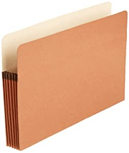 AmazonBasics File Pocket , Straight-Cut Tab, 5 1/4-Inch Expansion, Legal Size, Redrope, 50-Pack
