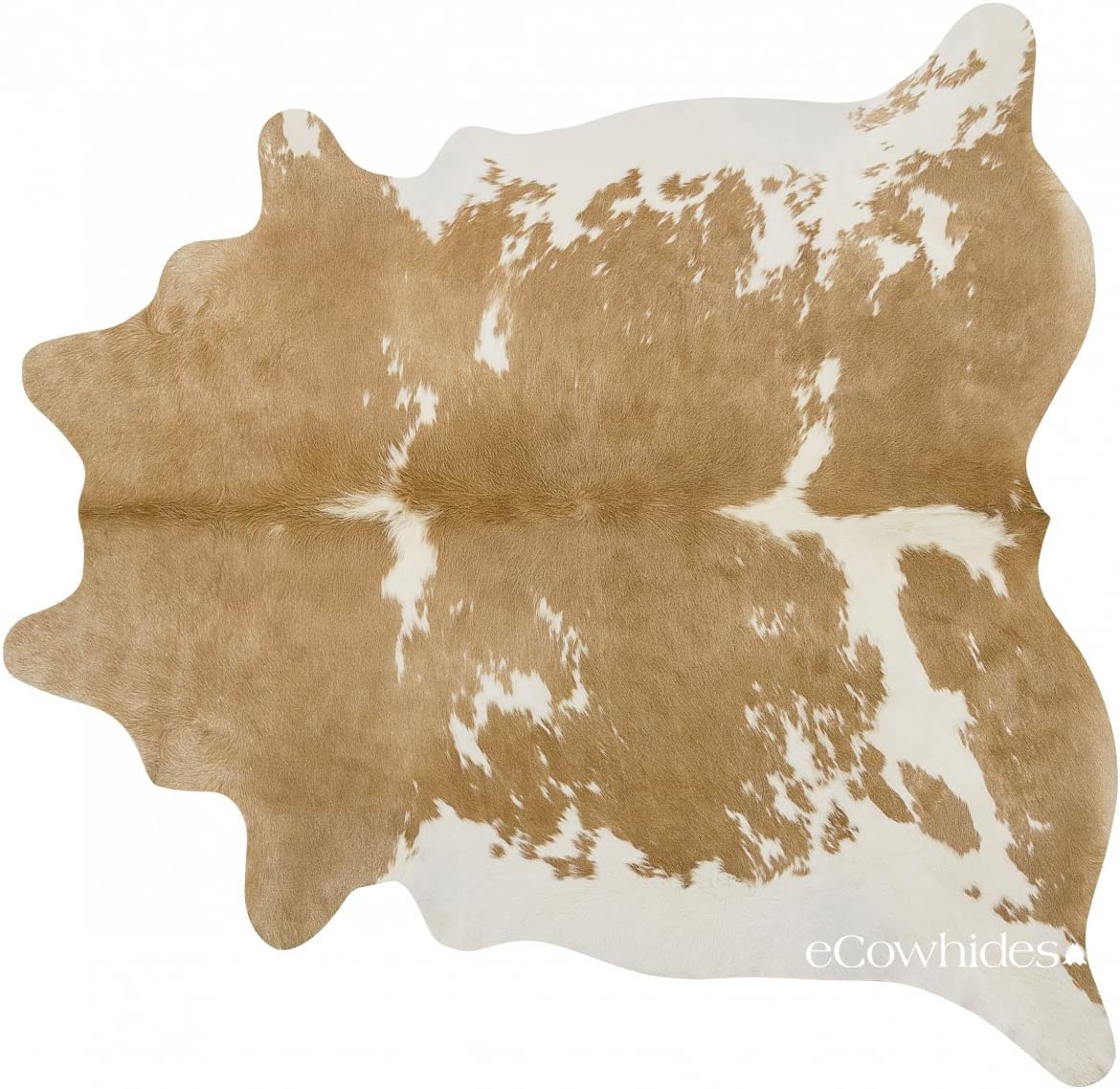 ecowhides Palomino and White Brazilian Cowhide Area Rug, Cowskin Leather Hide for Home Living Room XL 7 x 6 ft