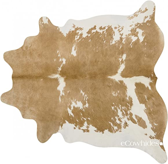 eCowhides Palomino and White Brazilian Cowhide Area Rug - the best living room rug for the money