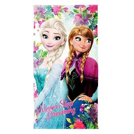 Disney Frozen Never Toalla de Playa Ideal para Días De Campo, Piscina, Gimnasio,
