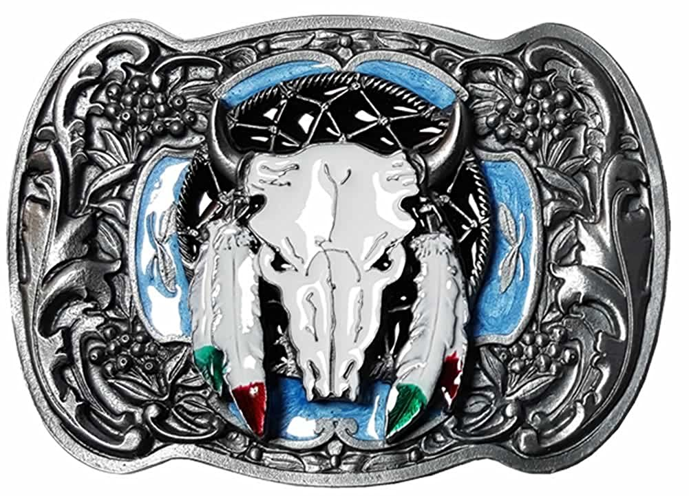 Buffalo Skull and Feathers Belt Buckle with display stand