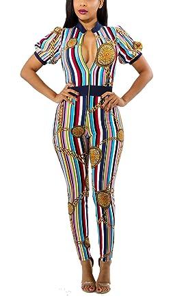 a7ce93396e3e Amazon.com  Womens Sexy Short Sleeve Zipper Front Striped Floral Print  Bodycon Long Pants Jumpsuit Romper  Clothing