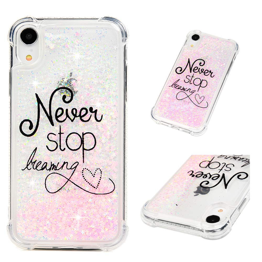 iPhone Xs Max Case 6.5'', Liquid Glitter Case Bling Shiny Sparkle Flowing Moving Love Hearts Cover Clear Ultral Slim Protective TPU Bumper Shockproof Drop Resistant Quicksand Case for iPhone Xs Max