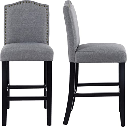 LSSBOUGHT 24 Inches Fabric Counter Height Bar Stools with Solid Wood Legs and Nailed Trim, Set of 2 Gray