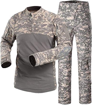 Kaiyei Traje Camuflaje Militar Camisetas y Pantalon para Hombre Mujer, Manga Larga Tactica Camisetas con Cremallera Camping Bosque Caceria Uniformes: Amazon.es: Ropa y accesorios