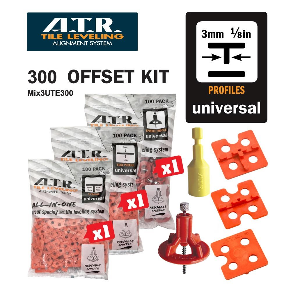 ATR Tile Leveling Alignment System DIY Kit 3mm T Shape Walls & Floors Spacers