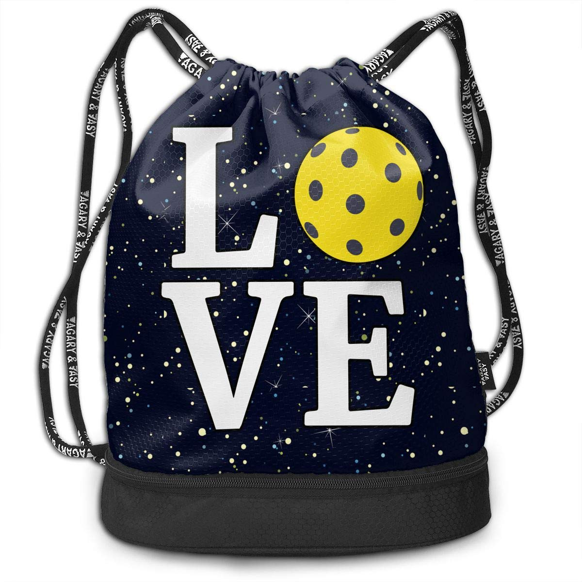Love Pickleball Drawstring Bag Multifunctional String Backpack Custom Cinch Backpack Sport Gym Sack