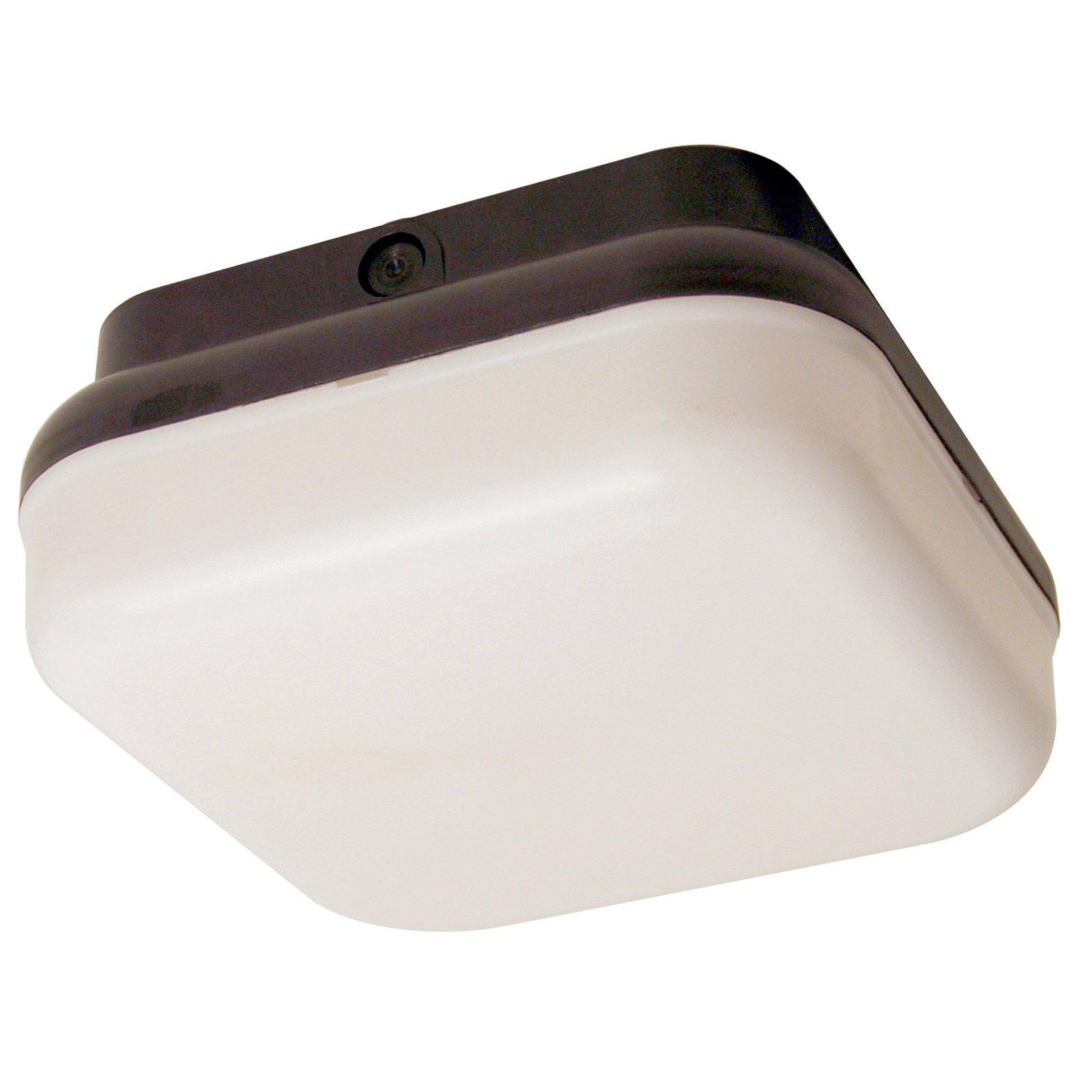 Sunlite 48218-SU DOD/PTS/BK/WH/GU24 Decorative Outdoor Energy Saving Protek Square Polycarbonate Fixture, Black Finish, White Lens by Sunlite