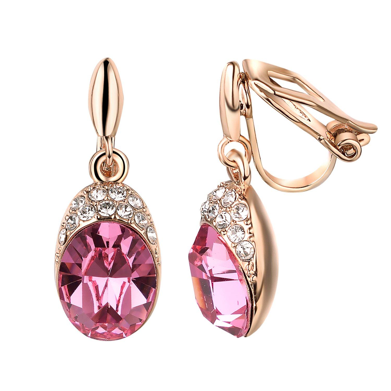 Yoursfs Bridal Clip On Dangle Earrings,Wedding Rhinestone Clip-On Earrings, Non Pierced Earrings