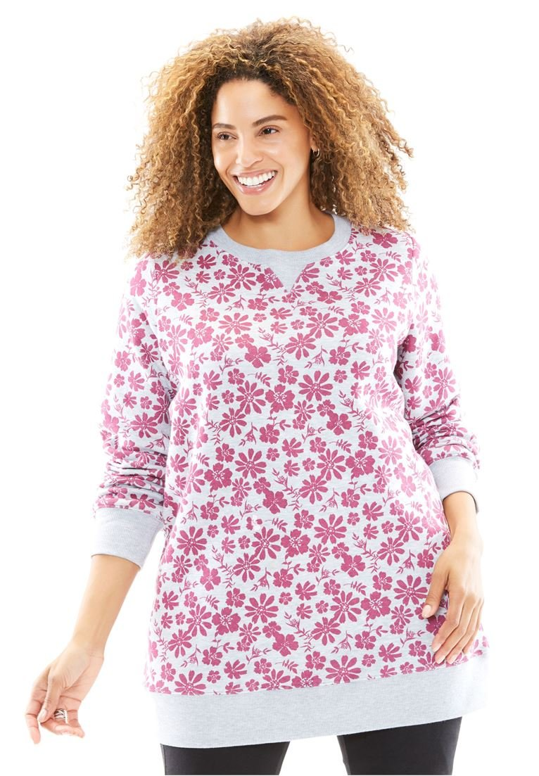 Women's Plus Size Fleece Sweatshirt Bright Berry Heather Grey Floral,4X