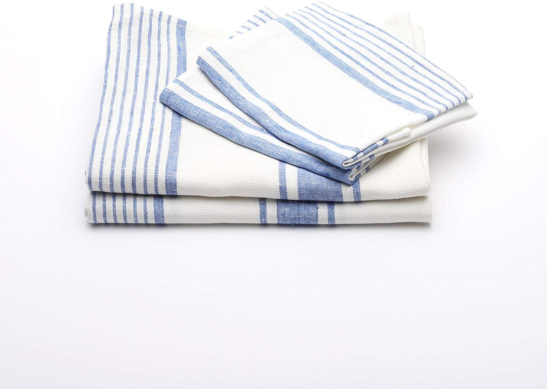 Badetuch europ/äisches Leinen Maschinenw/äsche Linenme Blaues Leinen-Badetuchset Tuscany Set besteht aus 2 Badet/üchern Super saugf/ähig